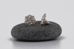 Sterling silver 1.5cm tangle studs. Left one facing forward, right one on the side to show stud and backing.