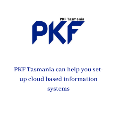 Text reads: PKF Tasmania can help you set up cloud based information systems